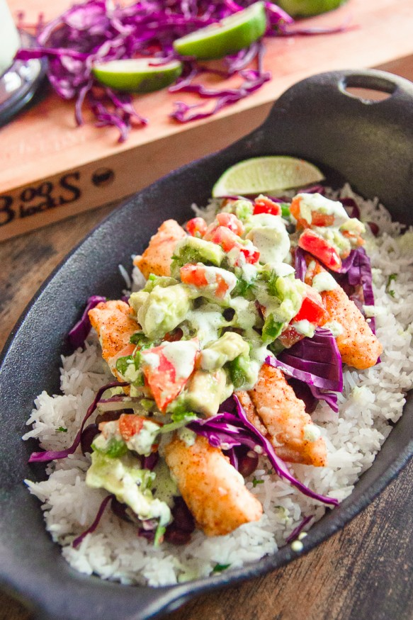 Fish Taco Bowl With Avocado Pico and Jalapeno Crema