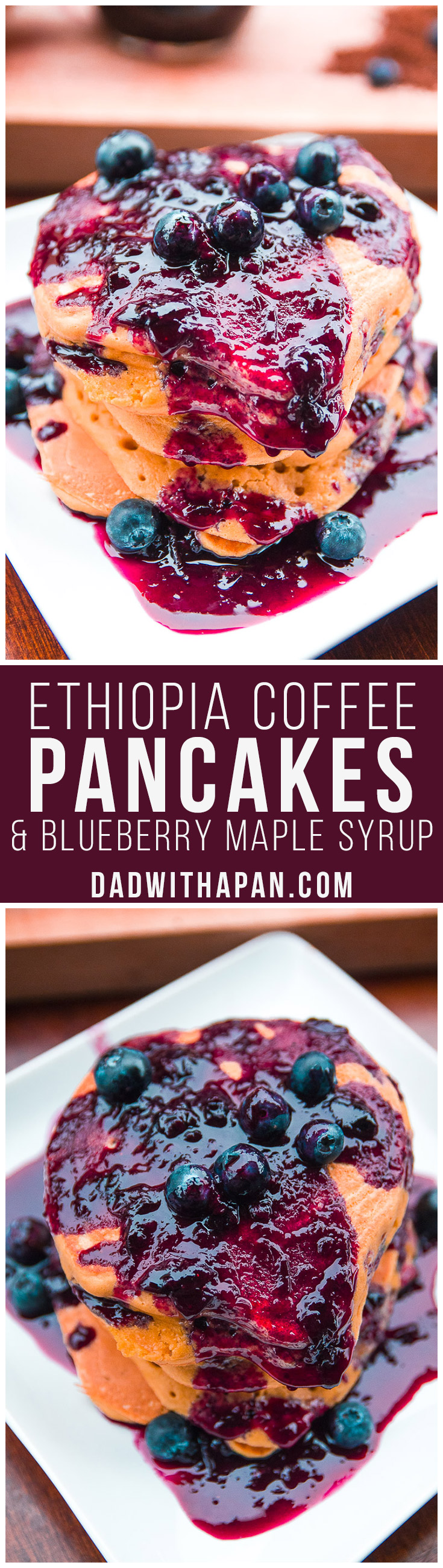 Ethiopia Coffee Pancakes With Blueberry Maple Syrup
