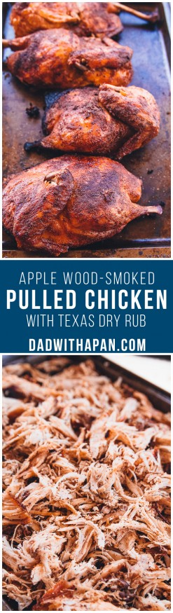 Slow cooked on the grill and apple wood-smoked barbecue pulled chicken with a home-made seasoning. Makes a great pulled pork sandwich substitute!