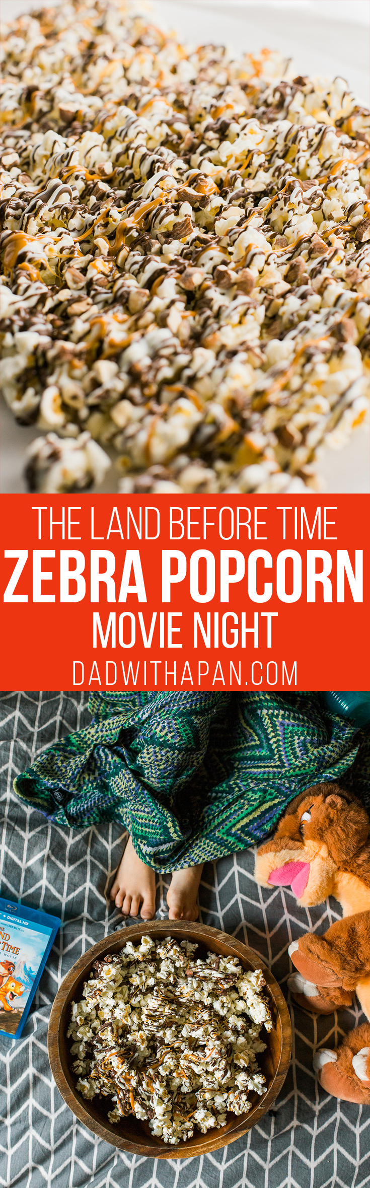 Zebra Popcorn recipe made a perfect companion for our Land Before Time Movie night! Drizzled with dark and white chocolate, caramel and chopped almonds!