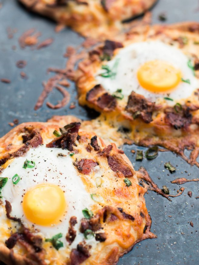 Naan Flatbread Bacon And Egg Breakfast Pizza Dad With A Pan