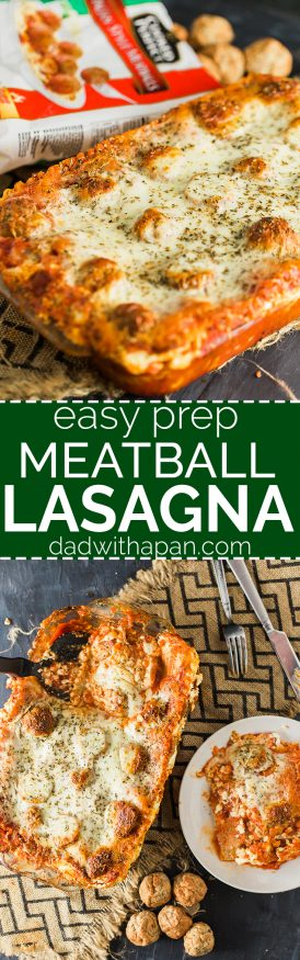 Easy to prep Meatball lasagna with no boil noodles, frozen meatballs with cottage cheese filling and Italian herbs and spices
