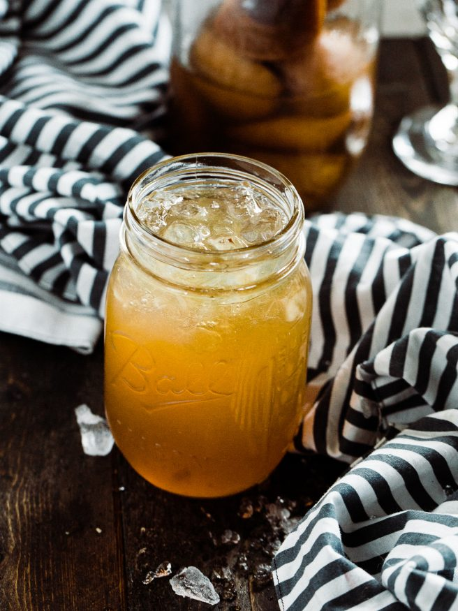 A homemade apricot whiskey, soaking fresh apricots in whiskey. When it was finally ready, I mad an amazing Apricot Whiskey Iced Tea Cocktail!