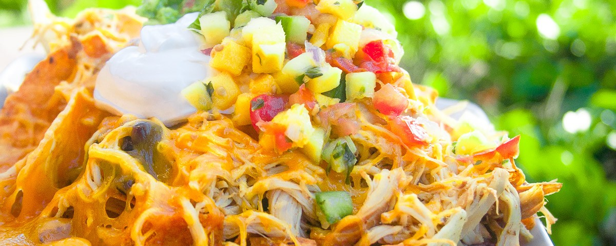 Slow Cooked Shredded Chicken Nachos Dad With A Pan