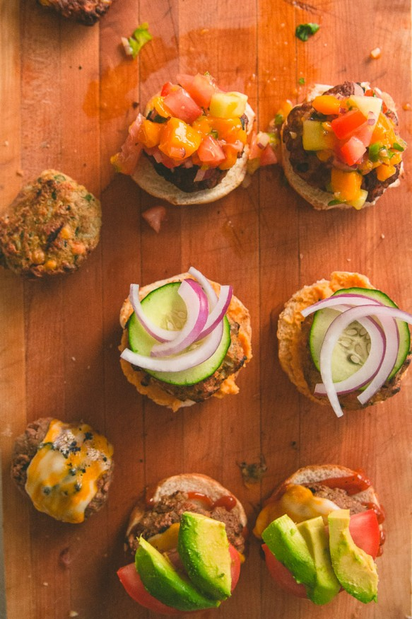 Spicy Veggie Burger Slider Trio #spicy #sliders #vegetarian