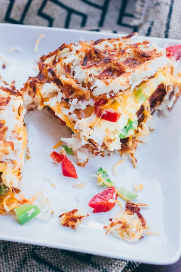 Omelette Hash Brown Waffle Sandwhich