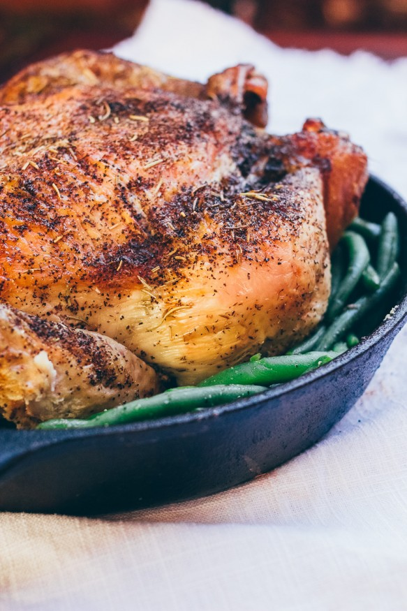 Crispy Herb Roasted Chicken with Sauteed Green Beans - Dad ...