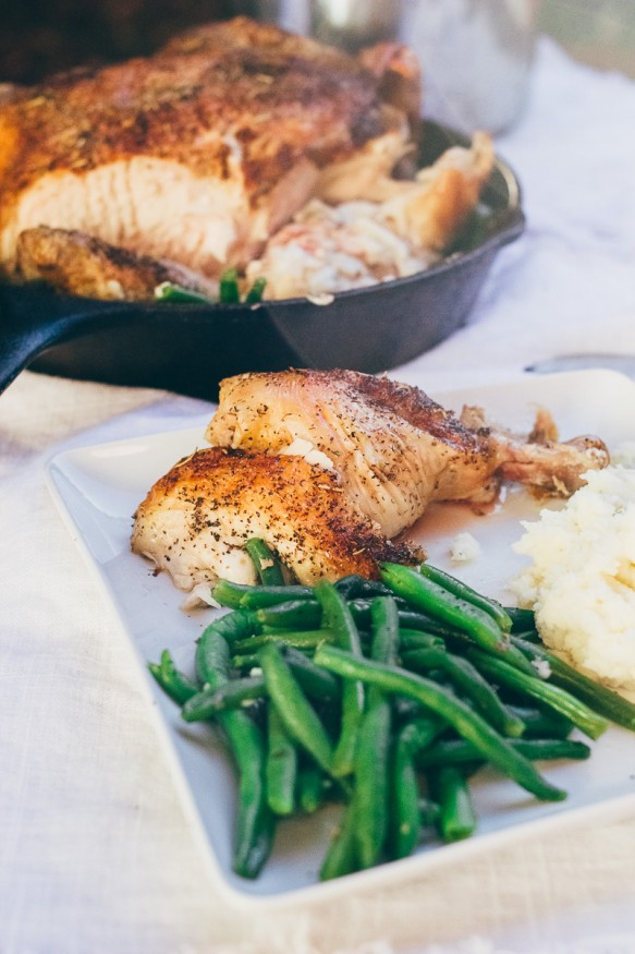 Crispy Herb Roasted Chicken with Sauteed Green Beans