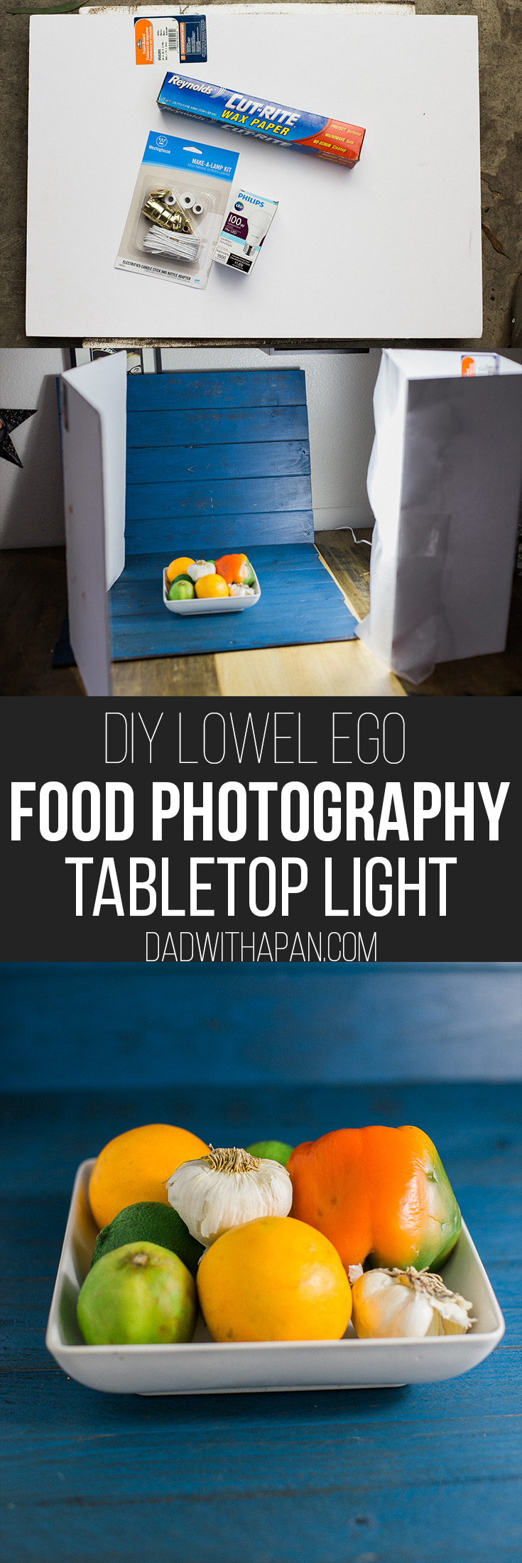 diy tabletop light for food photography dad with a pan