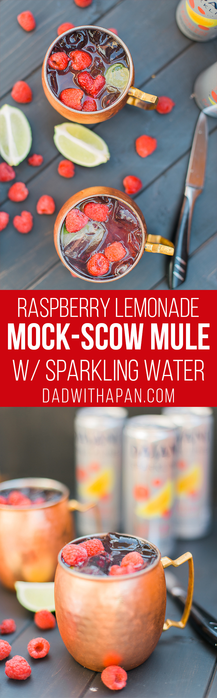 This Virgin Raspberry Lemonade Moscow Mule is the perfect #Mocktail for the summer! #Drinks #NonAlcoholic