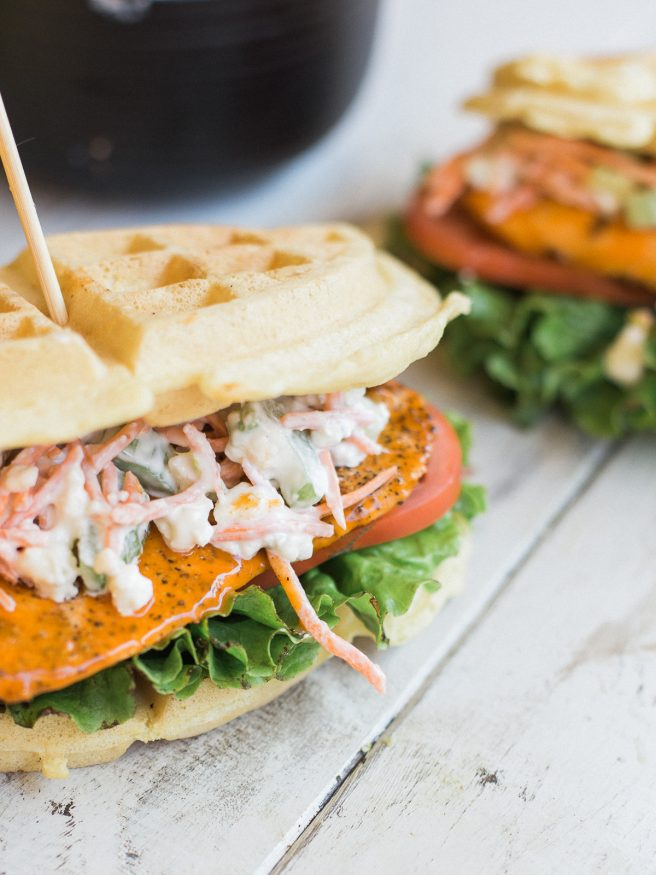 Buffalo Chicken Waffle Sandwich with a Carrot and Celery Bleu Cheese Slaw, This waffle sandwich is a buffalo wing meets chicken and waffles all in one!