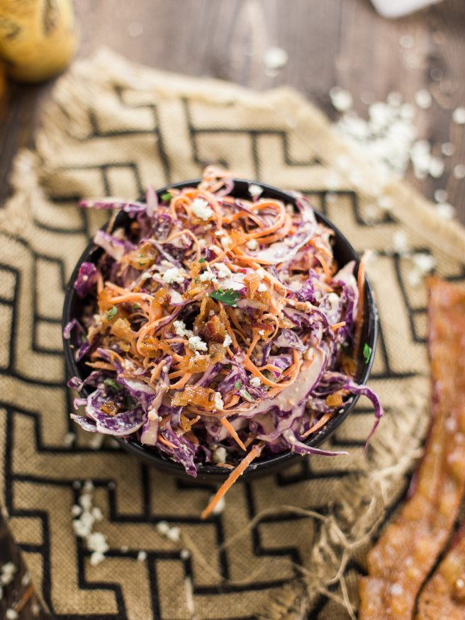 A Red Cabbage Cole Slaw with Bacon, Bleu Cheese, Dijon mustard, and a bit of cilantro makes this a fresh and flavorful cole slaw thats perfect for summer!