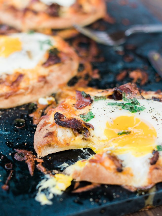 Naan Flatbread Bacon and Egg Breakfast Pizza