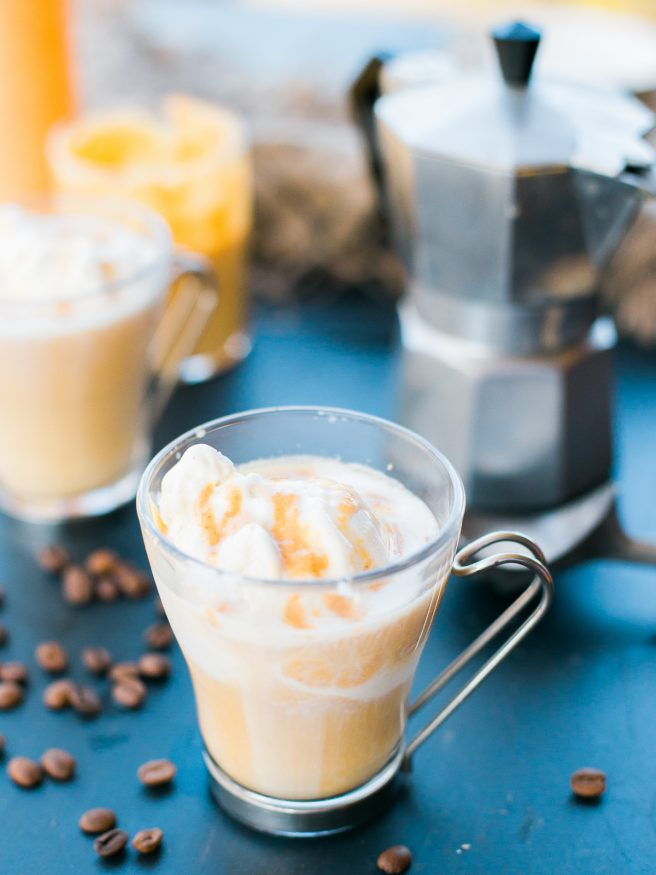Pumpkin Spice Affogato with a from scratch pumpkin spice sauce that hits the spot as a dessert or afternoon snack. Delicious and comforting!