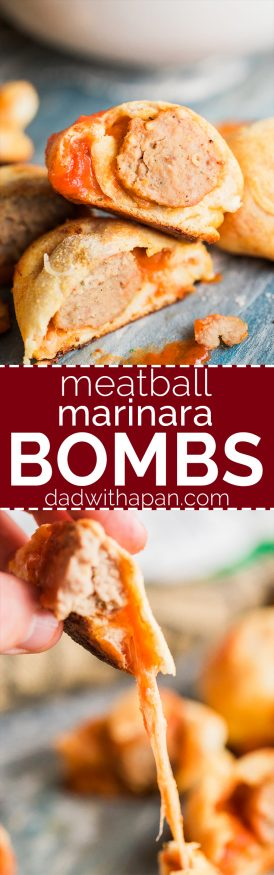 Meatball Marinara Bombs with pre-cooked Italian meatballs, pizza dough, mozzarella cheese and marinara sauce. Super fun snack idea and great for watch parties! @dadwithapan