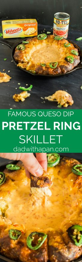 Turning your house into a Rotel Famous Queso house is ridiculously easy, with this pretzel ring skillet recipe making it the perfect one-pan dip!