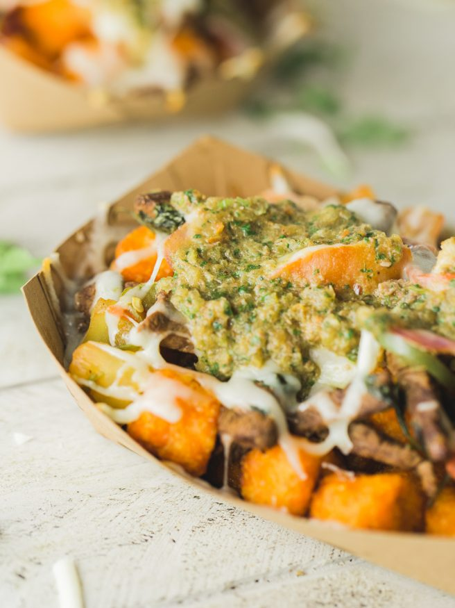 These totchos are loaded with steak mozzarella cheese, and veggies topped with a chimichurri style salsa is a new favorite that I'll be eating A LOT!