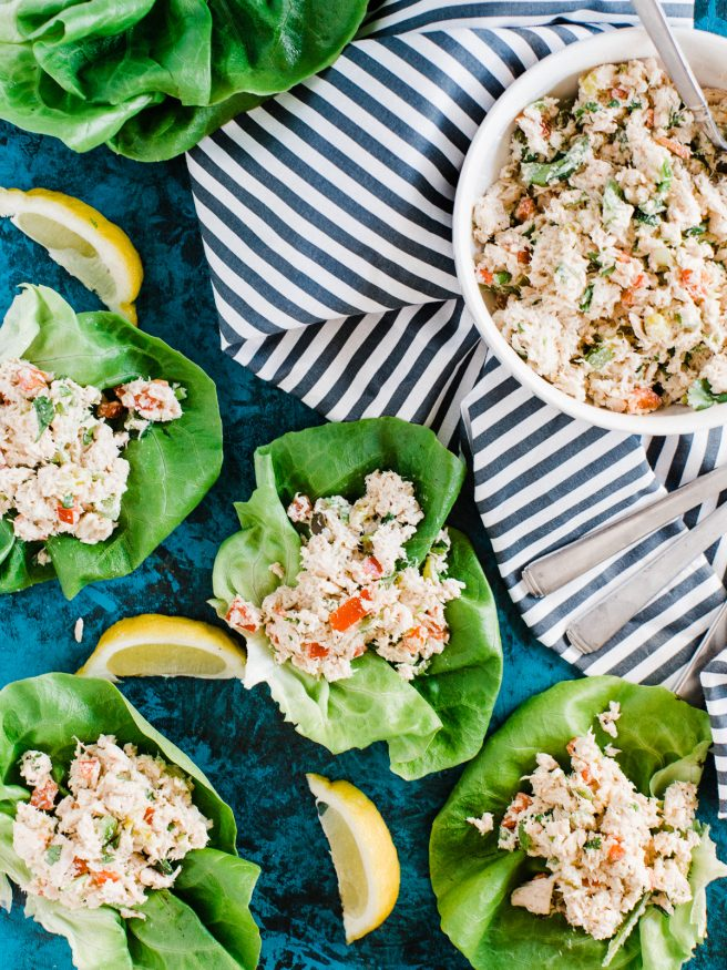 Fresh and easy to make tuna salad that beats the plain old sandwich. These tuna lettuce wraps aren't drowning in mayo that the whole family will love!