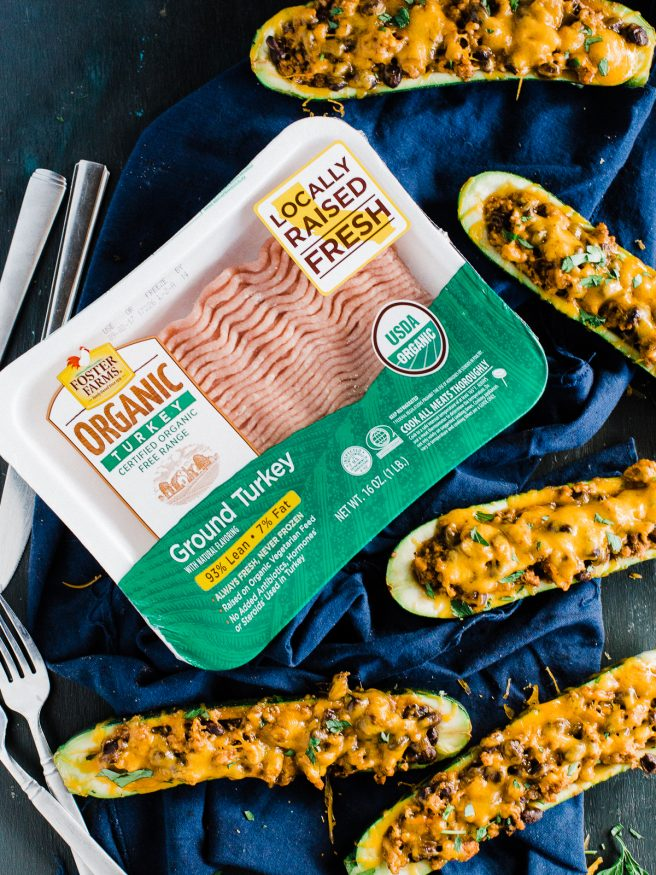 Stuffed Zucchini Boats with a ground turkey filling. Turkey simmered with salsa, Mexican inspired seasoning, and black beans, topped with melted cheese!
