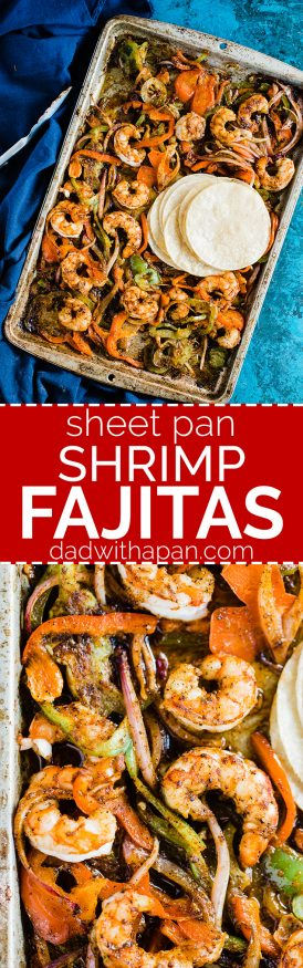 Spicy Shrimp fajitas with a homemade fajita seasoning. Cooked all on one sheet pan making this meal amazingly easy to prepare and cook!