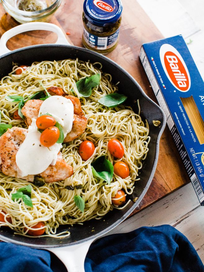 Chicken Caprese Pasta With Pesto Sauce Dad With A Pan