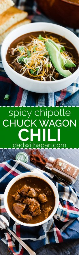 Spicy Chipotle Chuck Wagon Chili. Simmered in spicy serrano and jalapeno peppers, beer and bold Simply Organic Spices
