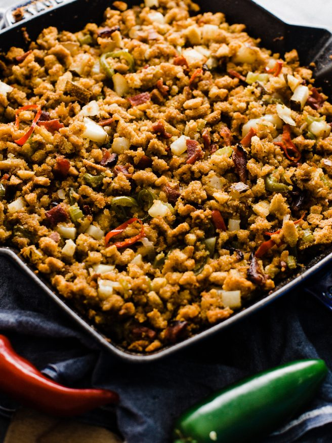 Cornbread stuffing with some heat! Bacon Jalapeno Cornbread stuffing is my absolute favorite side to bring to Thanksgiving get together's!