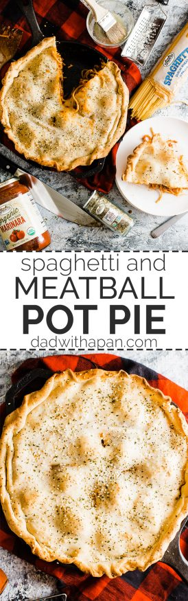 Spaghetti and Meatball Pot Pie is great one pan meal for the weekend. Spaghetti and Meatballs cooked with mozzarella and topped with pizza dough for crust!