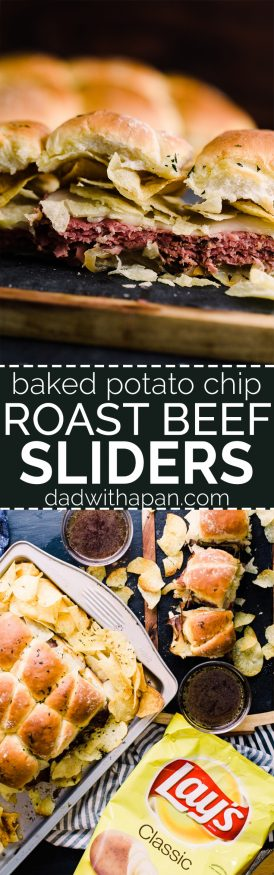 Roast Beef Sliders topped with Potato chips that are baked into the slider. Topped with a little butter and herb, and dipped in homemade au jus! The easiest way to get roast beef on the table for a game day party!