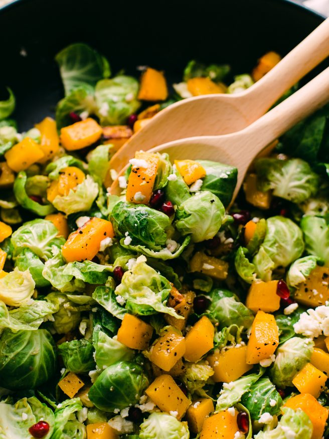 Rosemary Balsamic Butternut Squash and Brussel Sprout Salad