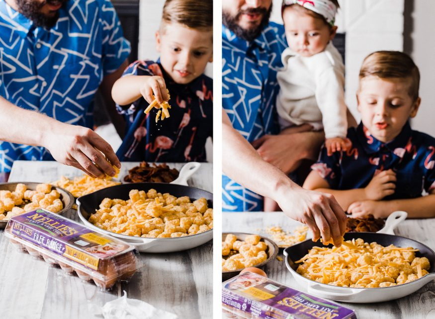 Making an easy breakfast dish with with Bacon Egg and Cheese Totchos. This makes the perfect candidate for a breakfast to cook up with the kids!