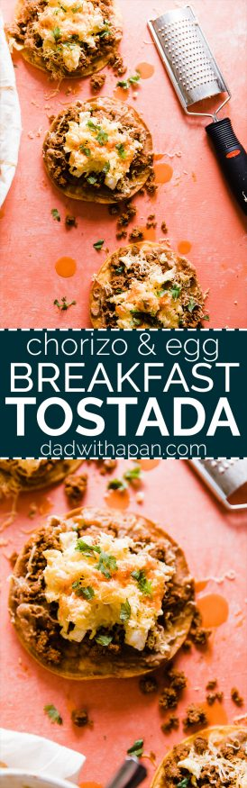This Breakfast Tostada is loaded up with chorizo seasoned turkey, refried beans, scrambled eggs and cheese. The perfect way to start the day. SUPER EASY TO MAKE!