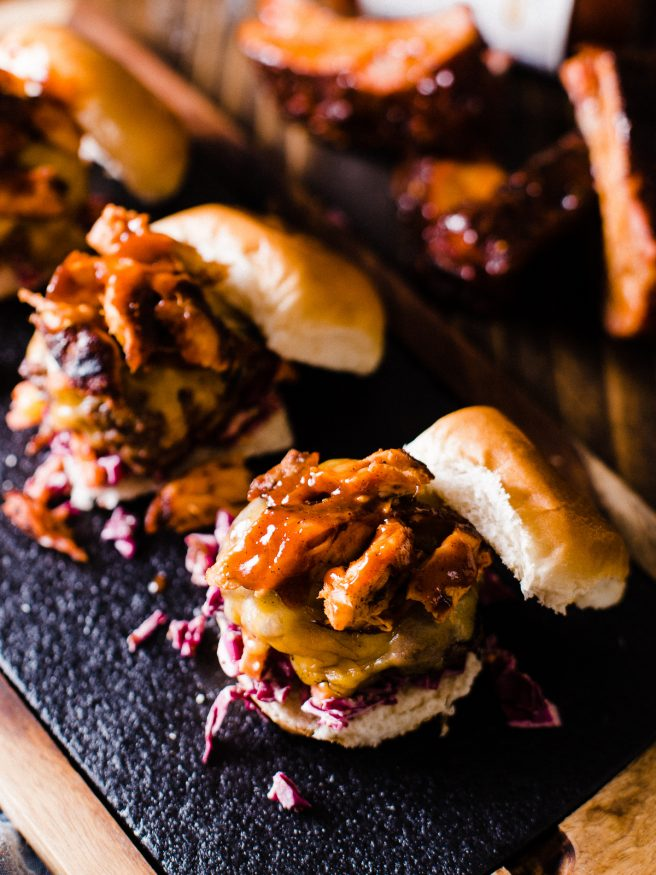 These Baby Back Ribs cheeseburger sliders, topped with a red cabbage slaw will blow your guests socks off this Fourth of July!