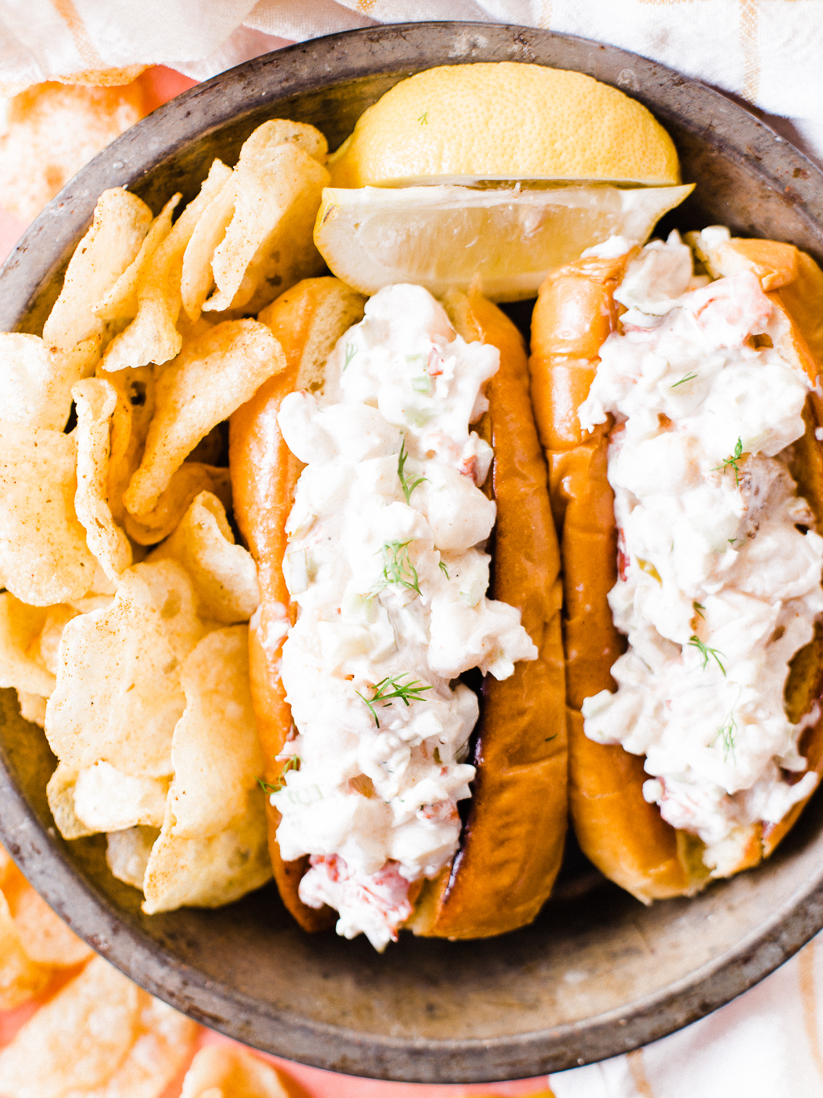 Smoked Lobster Roll with Old Bay Potato Chips - Dad With A Pan