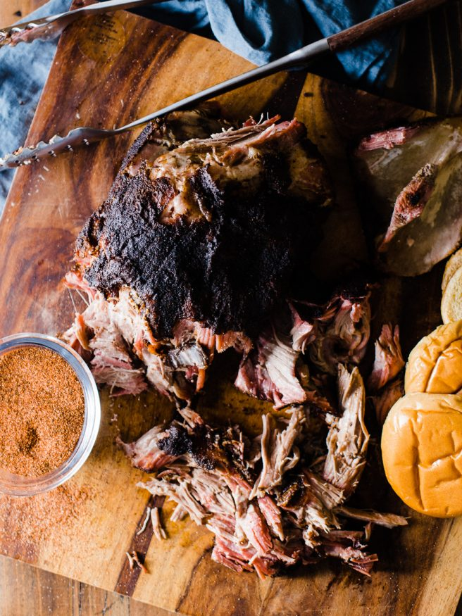 Smoked Pulled Pork cooked low and slow over apple and hickory pellets. Coated with a pepper based central Texas style rub that makes for a one of a kind pulled pork that everyone will love!