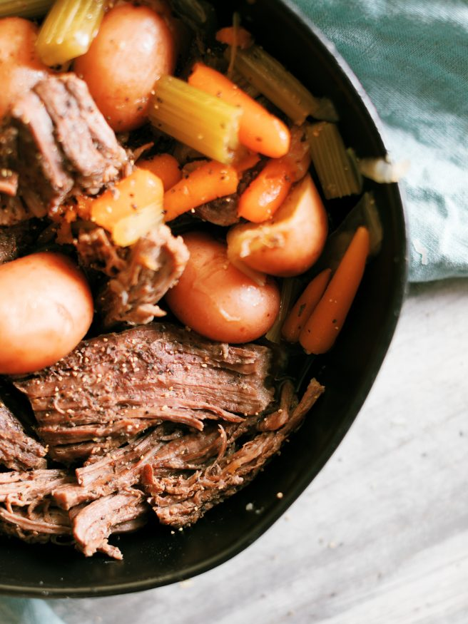 This Instant Pot Roast is the perfect way to get a hearty comfort food on the table during the week. What takes ours in a crock pot, is done in less than 60 minutes with less than 10 minutes of prep!