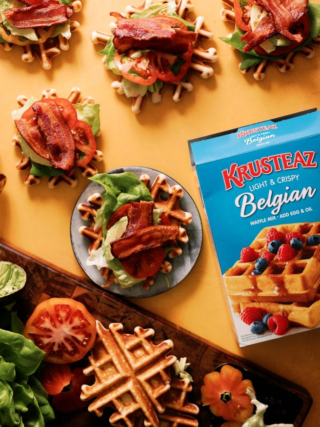 BLT Waffles bites combine the best of both worlds. Smothered with maple syrup to make this an awesome way to enjoy your next game day!