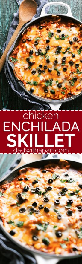 This chicken enchilada casserole skillet cuts down on prep time making this a delicious and easy dinner to get on the table for a crazy weeknight!