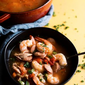 Jambalaya Soup that is low carb and perfect for a keto or any low carb diet. Loaded with shrimp, andouille sausage, chicken and the perfect amount of heat!