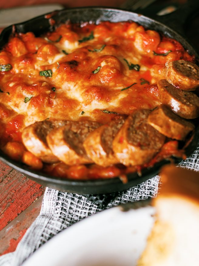 This Gnocchi and Marinara skillet, is a simple to make gnocchi bake that is loaded with cheese and baked off to get a that beautiful golden brown cheese layer on top.