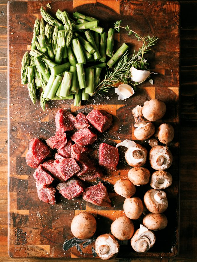 Steak and mushroom bites with filet mignon, baby portabello and asparagus. Seared in a cast iron skillet with butter, herbs and garlic.