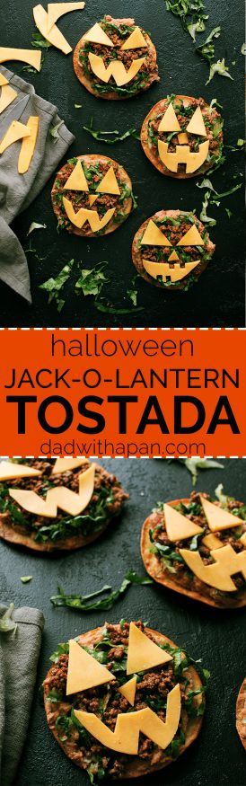 Jack O lantern tostadas are  topped  with beans, taco-seasoned ground beef and cheese cut out into fun jack-o-lantern shapes. Great halloween night dinner!