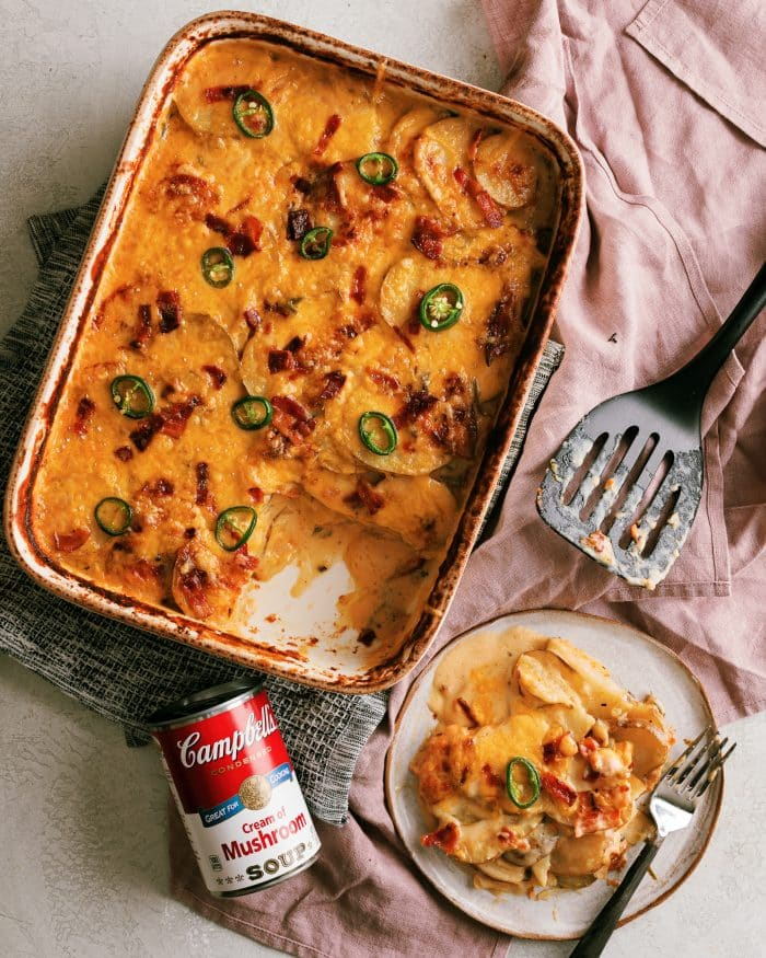 The best scalloped potatoes I've had so far. They are loaded with savory flavor using 3 cheeses, bacon, and cream of mushroom. Plus a little bit of heat with the add of jalapeno!