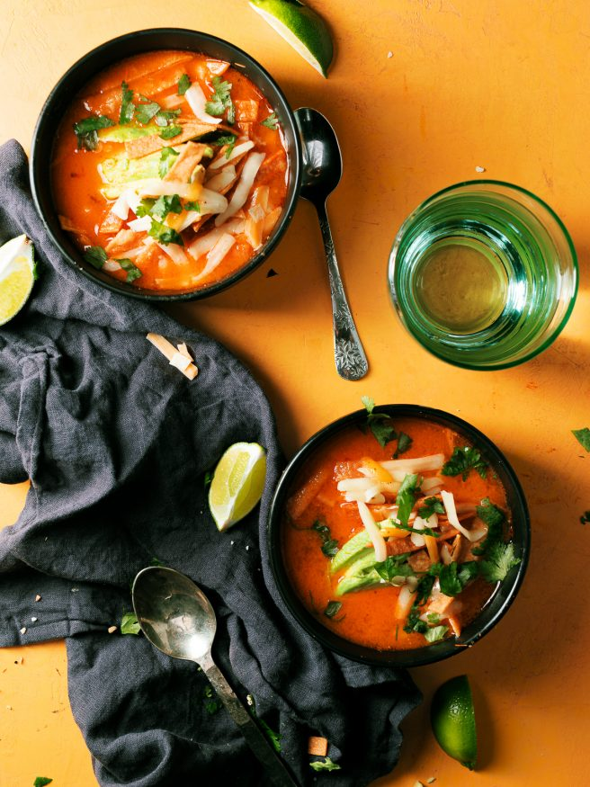 Smoked tomato onion and jalapenos to add a beautiful smoky flavor to this chicken tortilla soup that is comfort food at its best!