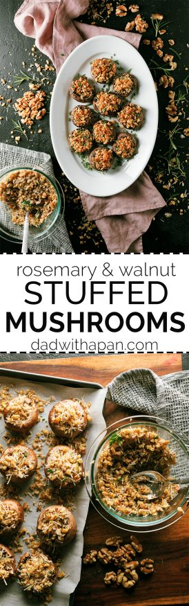 These walnut and rosemary stuffed mushrooms are the perfect appetizer to put together for the holidays. Comes together in 15 minutes!