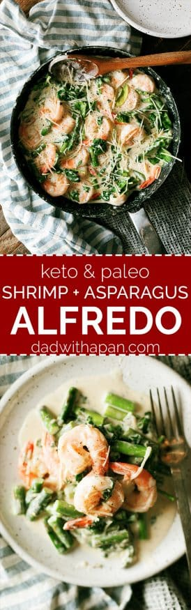 This Keto Shrimp Alfredo is a simple from scratch Alfredo sauce with sauteed shrimp asparagus and spinach. Whats even better is it can double for a pasta as well feeding the carb-lovers in your family all at once!