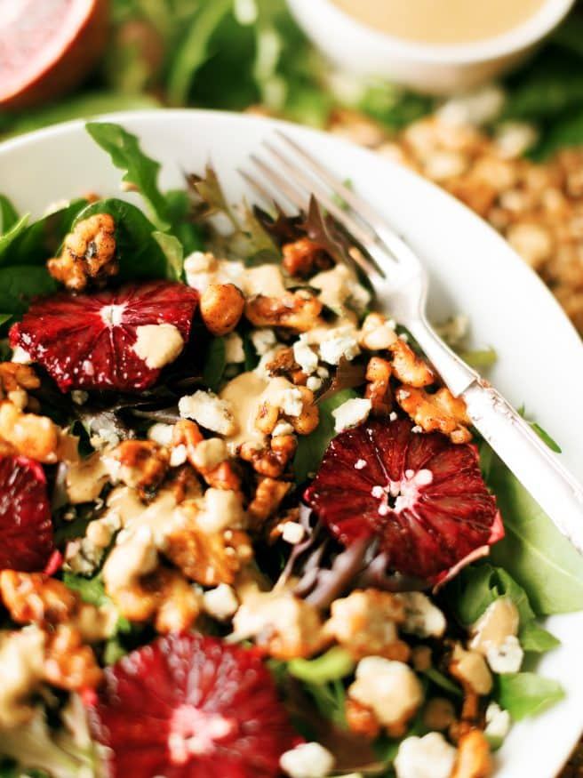 This Spicy Walnut blue cheese and Blood Orange Salad has everything you can ask for in a salad. Its savory, spicy with a little sweet and tartness.