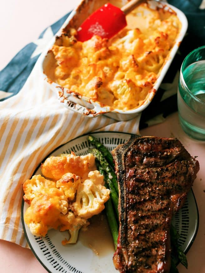 Cauliflower mac and cheese is one of my favorite ways to get that mac and cheese fix, when you're going low carb...
