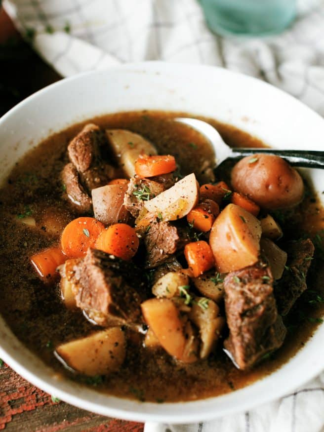 Irish beef stew is a comfort food that needs to be made this time of year. Its what you expect of a beef stew, but with a kick of extra flavor from a lovely dark beer.
