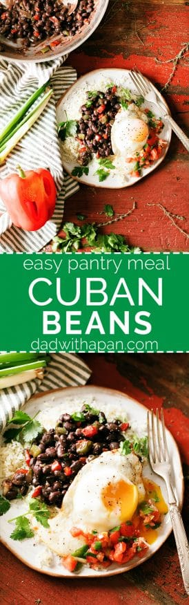 Cuban Beans take standard black beans to a whole other level. Seasoned with cumin and other spices along with some bell pepper and onions.
